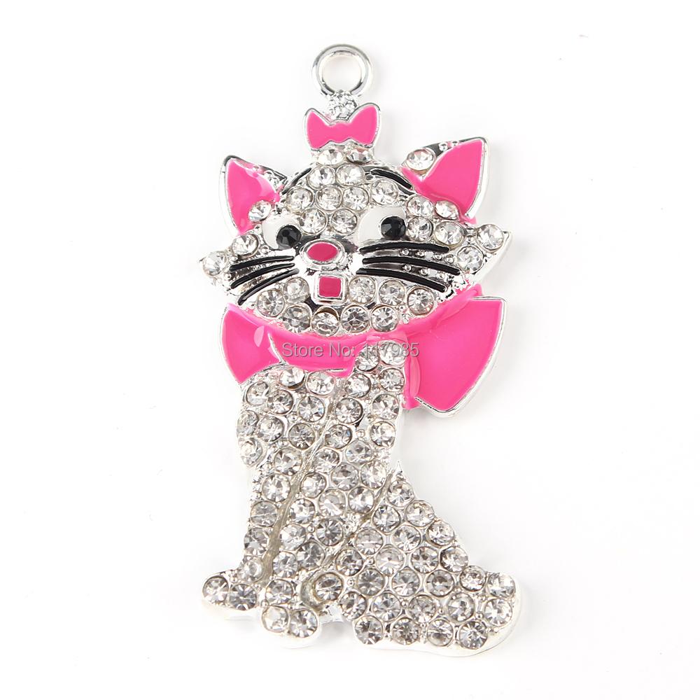 NEW&amp;CUTE!54*26mm The Aristocats Marie Cat Rhinestone Pendant Chunky Necklace Beads, Kawaii Pink Kitty Pendants 10pcs<br><br>Aliexpress