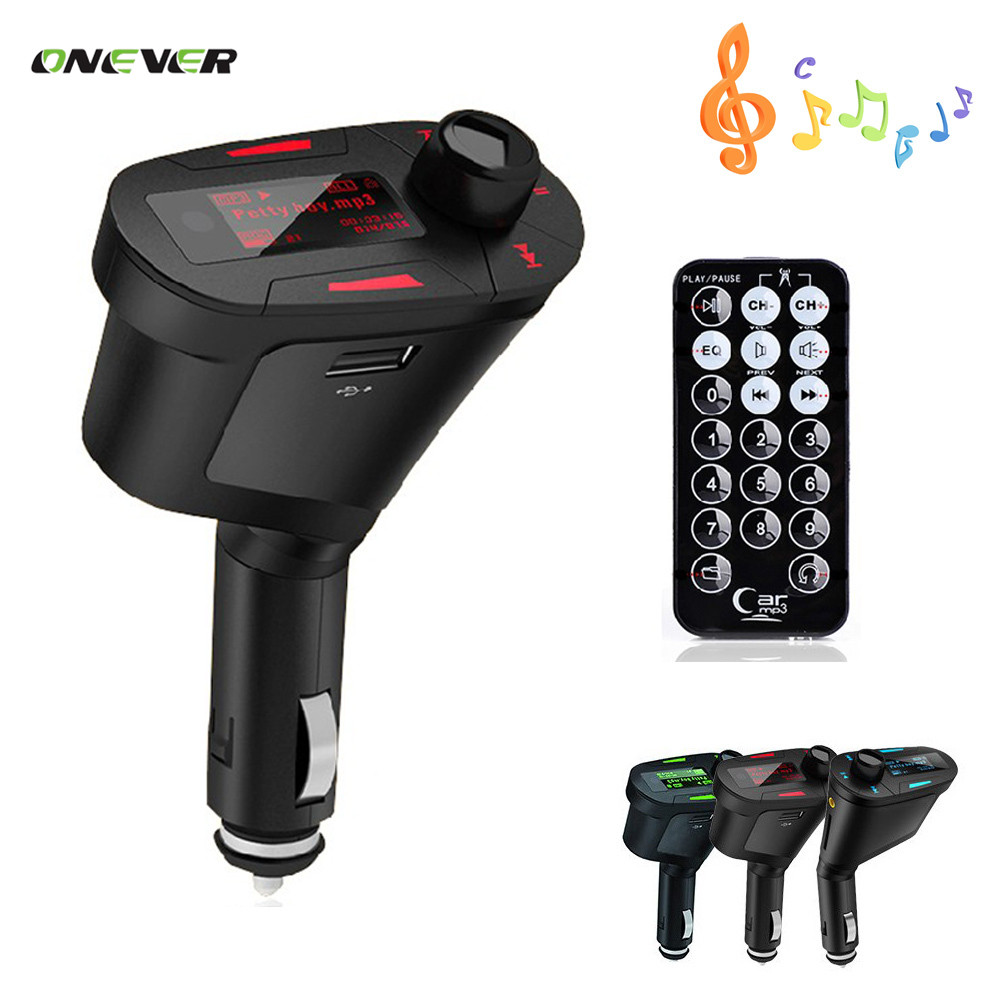 3.5mm Car Auto Kit Socket In-Car Blue LCD FM Transmitter Music Audio Stereo Radio Modulator With USB MMC TF Slot +Remote Control(China (Mainland))