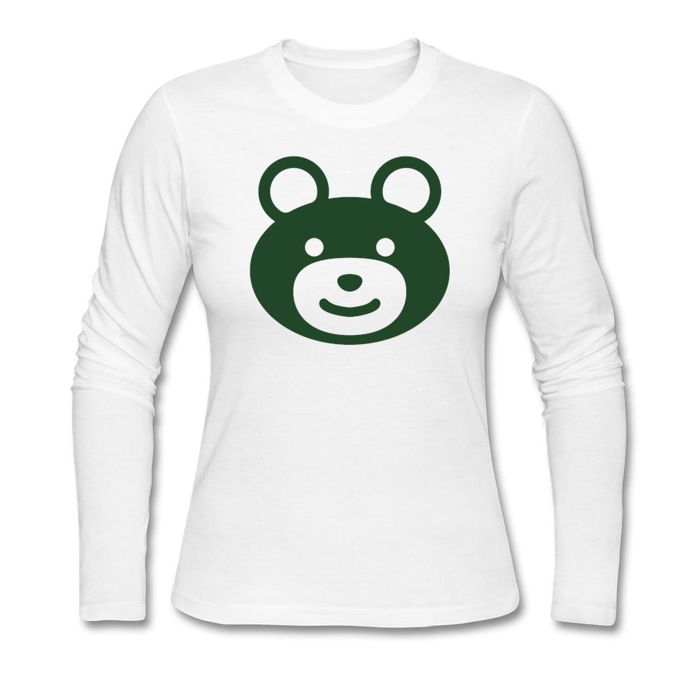 Large Size Pre-cotton Custom Women Long Sleeve T Shirts Crystal happy teddy bear Tshirt For Women Wholesale(China (Mainland))