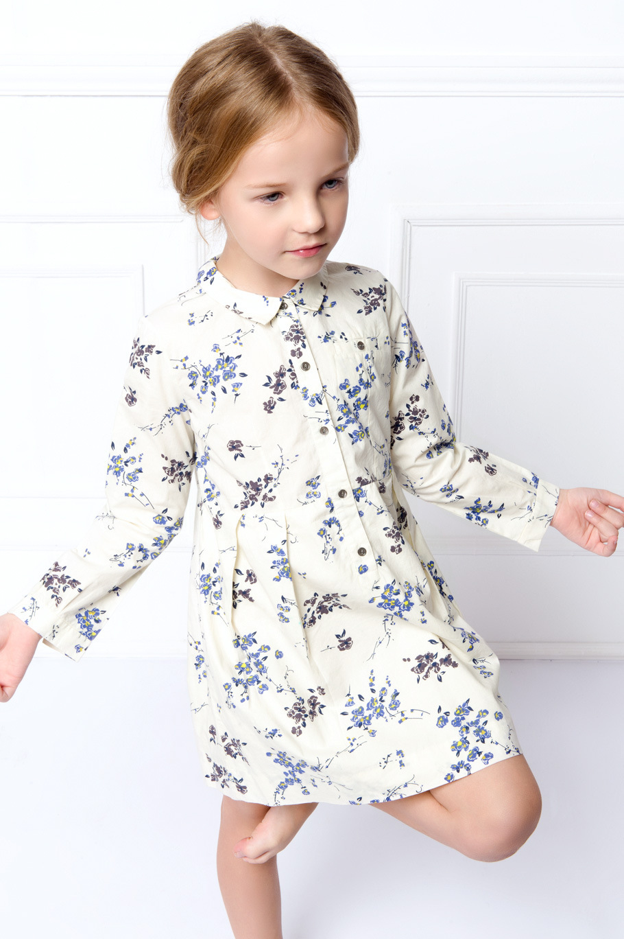 New Fashion Spring Autumn Girls European and American Child Doll Collar Long-sleeved Floral Dress Blue and White Shirt Skirt<br><br>Aliexpress