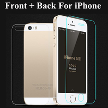 2Pcs/Bag Front + Back Premium Tempered Glass For iPhone 5 5S SE 6 6S 4 4S Screen Protector Anti Shatter Explosion Proof Film