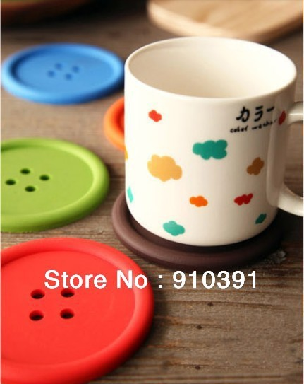 Free shipping candy color button Heat-proof cup coaster non-slip coffee cup pad,anti slip cup mat as homeware table accessory.