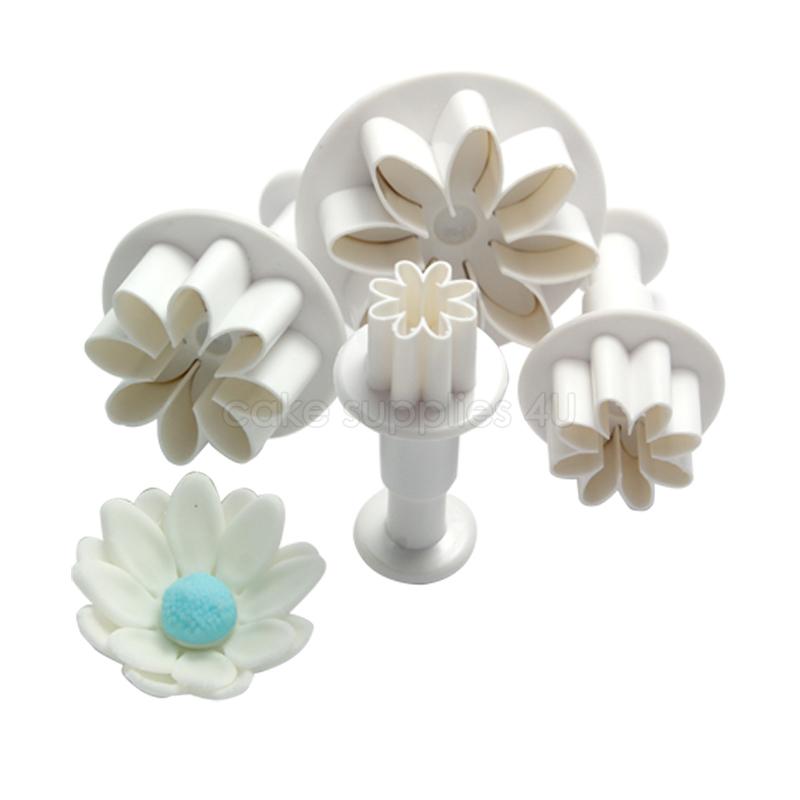Sun Flower Plunger Cutters 4Pcs Set Daisy Mold Cake Decorating Plastic Fondant Cutter Paste Sugar Decorating Tool(China (Mainland))