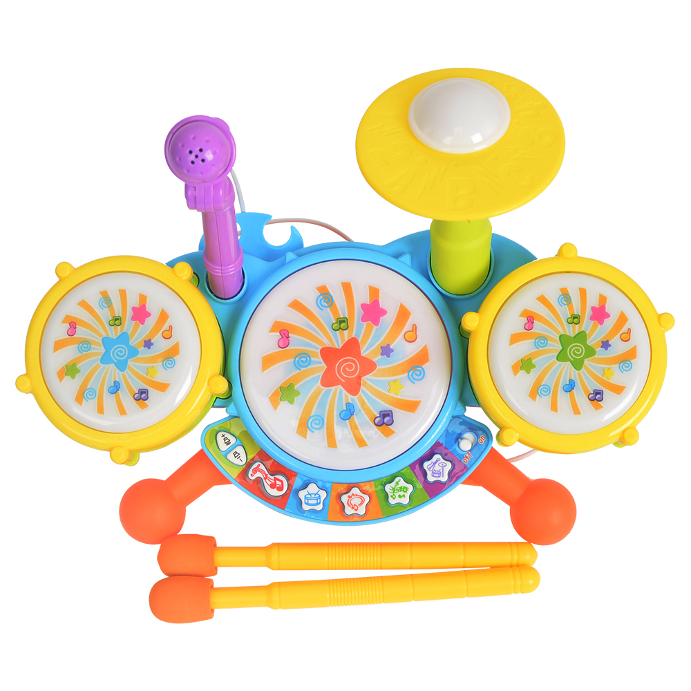 Musical Instruments Colorful Educational Toys Electronic Drum Sticks Microphone Bass Ride Cymbal Sets Children Kid(China (Mainland))