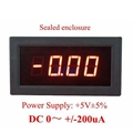 Red LED Digital Panel Ammeter DC 0  200uA 3 Digit Negative Current Monitor Meter Ammpere