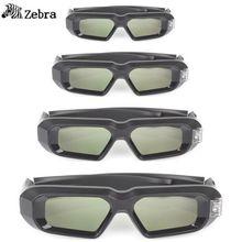4 PCS !! SainSonic Zebra 144Hz 3D DLP Glasses forBenQ Vivitek Optoma Projector Black 10M active 3d glasses virtual reality(China (Mainland))