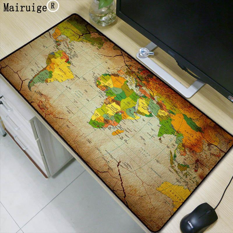 Mairuige Old World Map Large Gaming Mouse Pad Lockedge Mouse Mat Keyboard Pad Desk Mat Table Mat Gamer Mousepad for Laptop Lol