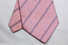 NT0055 Pink Purple Stripe Smooth Jacquard Woven Classic Silk Polyester Mans Attractive Business Wedding Tie Casual