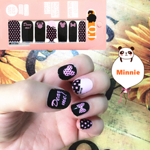Black & Pink m&m Mouse child Nail Arts Nail Sticker Waterproof Nail Decal Sticker Gel Polish French Manicure Patch Full Tape