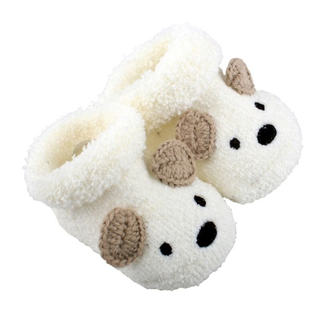Free Shipping Cute Cartoon Baby Socks Bear Manual Slipper Shoes Newborn to 3 Month Autumn Winter Infant Gift Drop Shipping