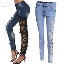 Buy Sexy Women's Crochet Lace Hollow Flower Hook Tight Feet Jeans Skinny Pencil Denim Pants Ripped Party Jeans Gradient Ramp u2 for $16.83 in AliExpress store
