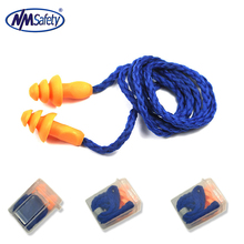 NMSAFETY 2 Pairs Soft Silicone Corded Ear Plugs Reusable Hearing Protection Noise Reduction Earplugs Protective earmuffs