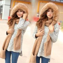 Autumn&winter coral fleece new brand Double layer plush thicken thermal one piece faux fur sets female lovely  scarf hat gloves(China (Mainland))
