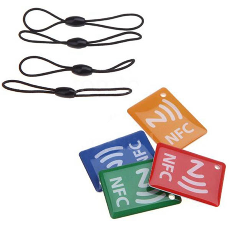 4Pcs Mobile Phone Strap Smart NFC Tags Stickers NTAG203 for Samsung Galaxy S5 S4 Sony Nexus 5/4 with String(China (Mainland))