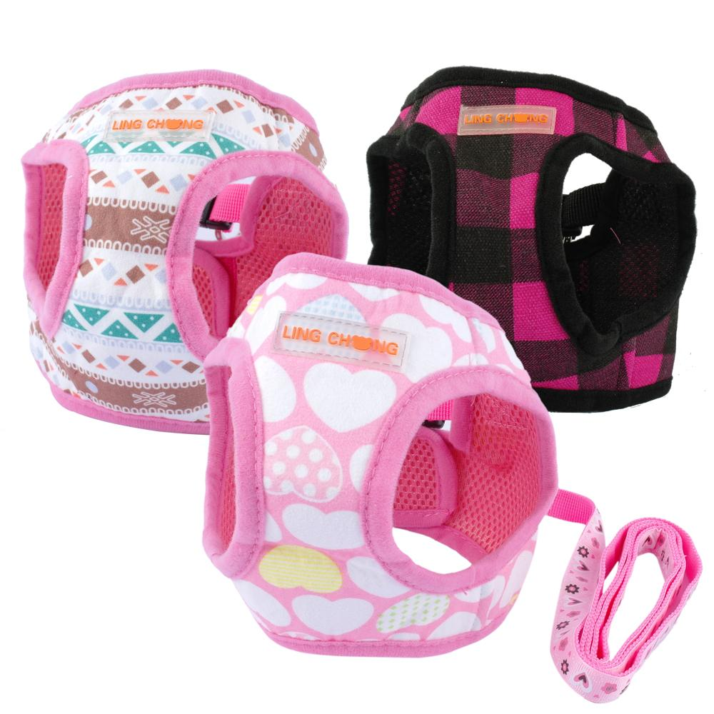 Cute Puppy Dog Harness and Walking Leads Set 4 Sizes Pet Winter Vest(China (Mainland))