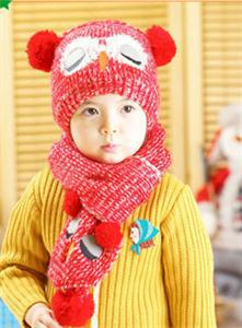 Winter Baby Knit Hat Cute Animal Print Boy Girl Kids Warm Hat Cap + Scarf For Child 1--5 Years HOT(China (Mainland))
