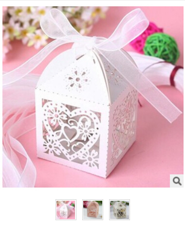 50pcs Hot Event & Party Supplies Personalized custom laser engraved wedding candy box pattern hollow love sugar tray w/ribbon(China (Mainland))