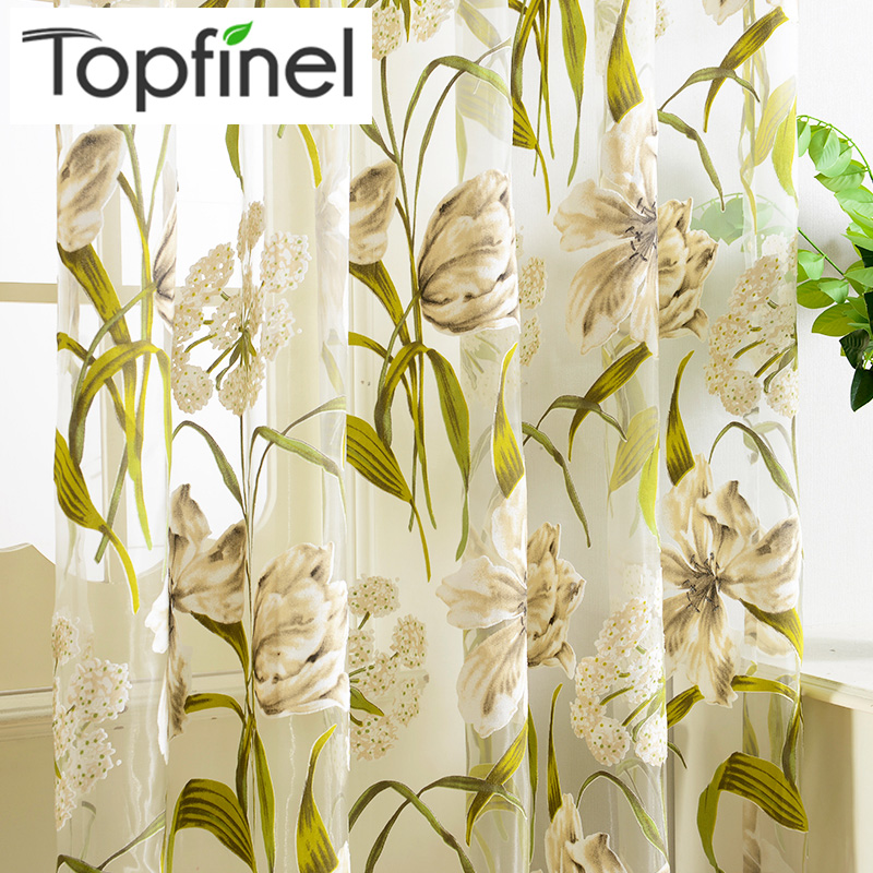 Top Finel Tropical Floral Embroidered Semi Sheer Curtains for Living Room Bedroom Kitchen Printed Flower Window Curtains Tulle(China (Mainland))