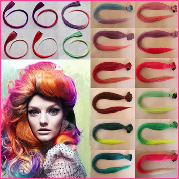 ! Synthetic Grizzly Rainbow Hair piece Clip-in Extensions - Romantic lover store