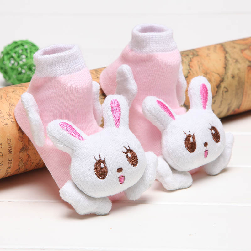 6Pairs/lot Baby Pure Cotton Socks 3D Cartoon Slippers Boys Girls Non-slip Crib Socks 2016 Cute Toddler Shoes with Bell S1(China (Mainland))