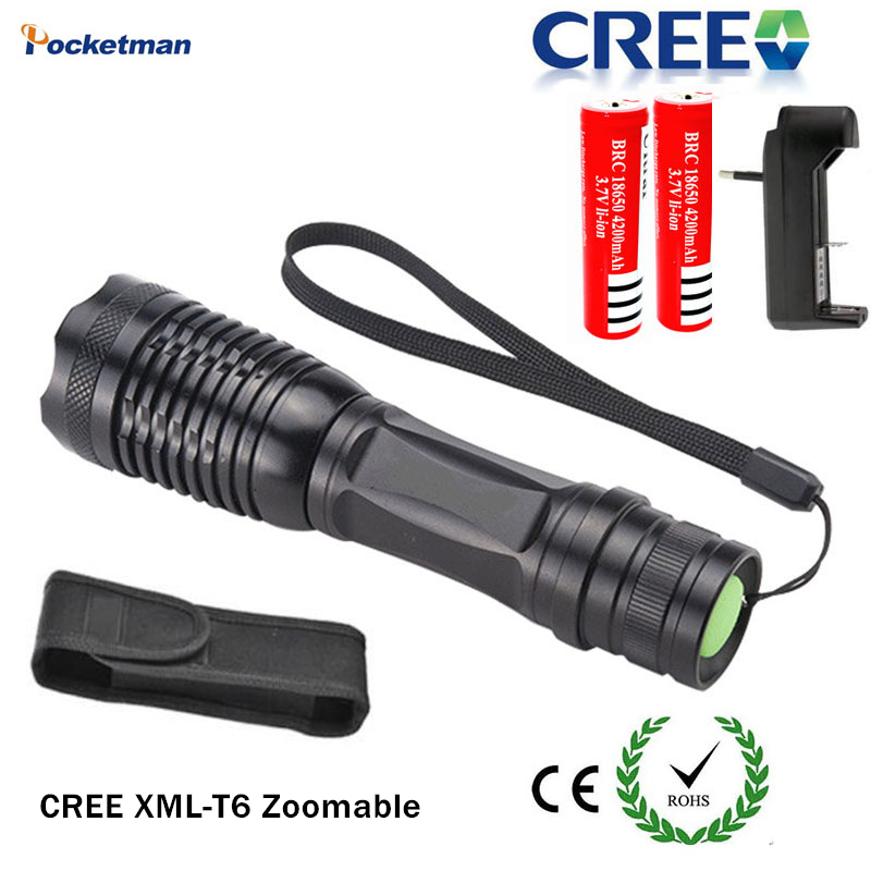 E6 LED Flashlight Set CREE XML T6 3800LM LED torch zoomable led Flashlight torch including 18650 Rechargeable and Batteries ZK93(China (Mainland))
