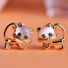 Kawaii Indian Jewelry Double Cats Brincos Ear Piercing Stud Earrings Pendientes Aretes Violetta Perfume For Women Brincos Ouro(China (Mainland))