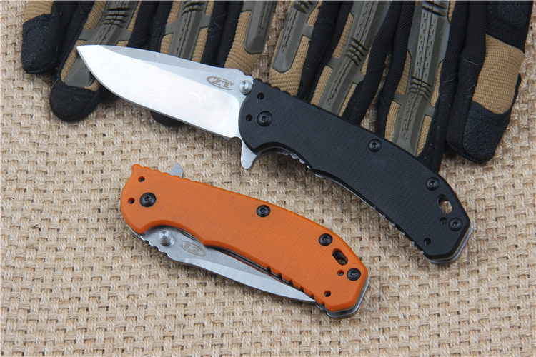 Buy Hot !!!!ZT0566 flipper D2 blade folding knife G10 handle ball bearing system  outdoor camping hunting tactical knife EDC tool cheap