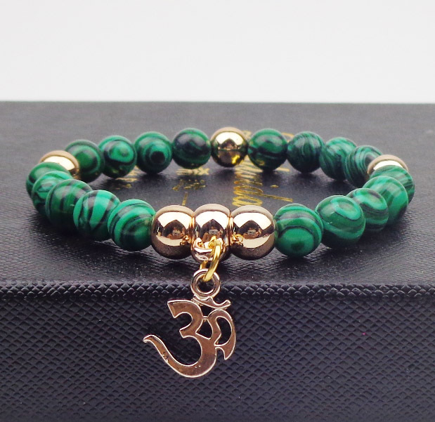 Gold plated OM with 8mm Natural stone Bracelets Bangles Elastic Rope Chain yoga Bracelets For Women Jewelry(China (Mainland))