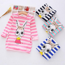 Buy New Girls Clothes autumn casual dresses Kids Long-Sleeve Cartoon Stripe Children Dress Girl Donald Duck rabbit 2-8Y Clohting for $6.52 in AliExpress store