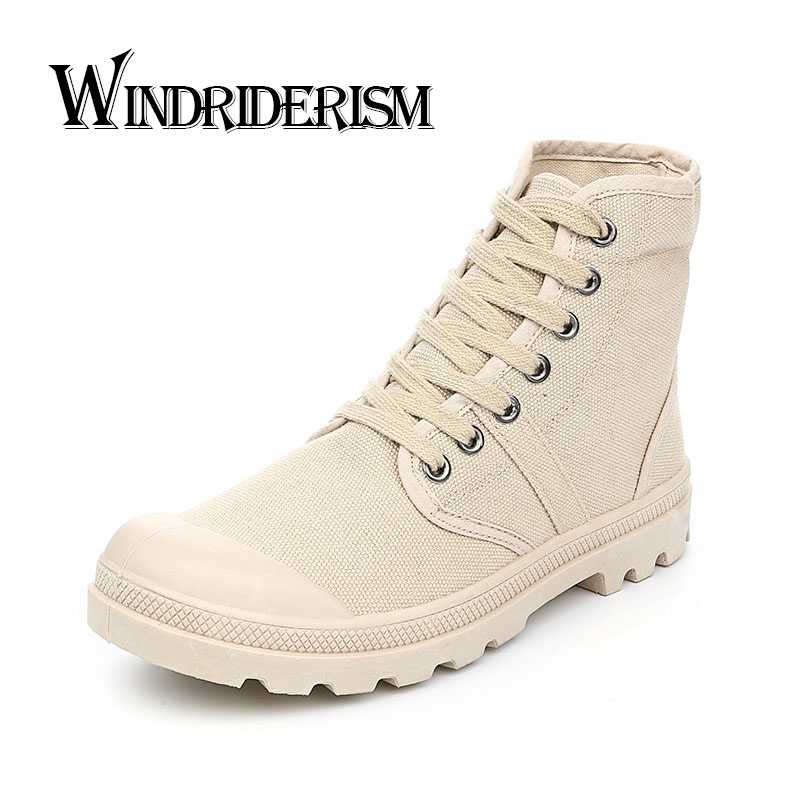 Brand Designer Men Boots Fashion Flat Heels Women Canvas Shoes High Quality Solid Color Lace Up Boots(China (Mainland))