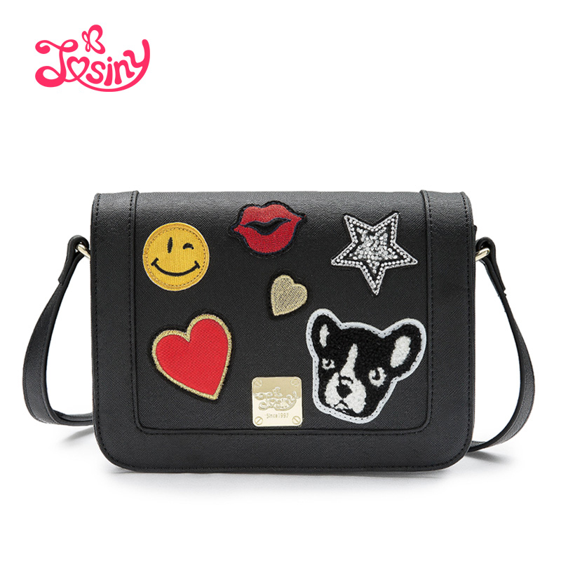 JOSINY 2016 Red Lips Woman Shoulder Bag Cute Emoji Cross Body Bag Star Women Cute Dog Messenger Bag Heart Shape Ladies Small Bag(China (Mainland))