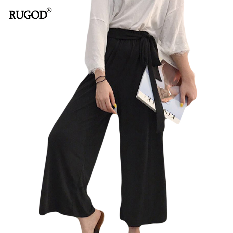 Rugod Black Wide Leg Pants Femme Belt wrap Cotton Pants Women High Waist Slim Trousers Female Summer Style Black Casual Pants(China (Mainland))