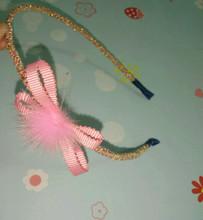 Handmade Pink hair band Girls Fashion rabbit fur ball hairbands Gold ribbon hair bow headbands for hair accessories