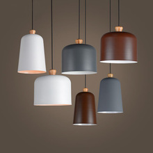 Nordic aluminum & wood modern pendant lighting fixture white/gray/brown cafe bar restaurant living room  industrial hanging lamp(China (Mainland))