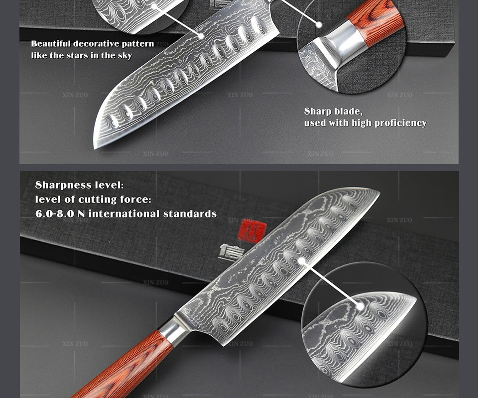 "Buy XINZUO 7"" inch Japanese VG-10 Damascus steel kitchen knives sharp chef knives santoku knife with wood handle free shipping cheap"