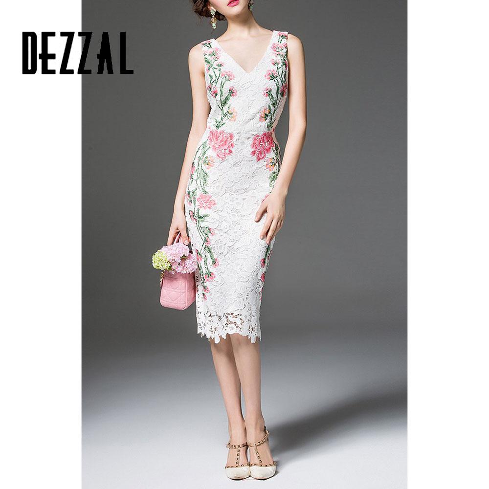 DEZZAL Robe Femme Night Party V neck Sexy Dresses Sheath Sleeveless White Floral Lace Embroidery Dress Midi Calf Length Dress(China (Mainland))