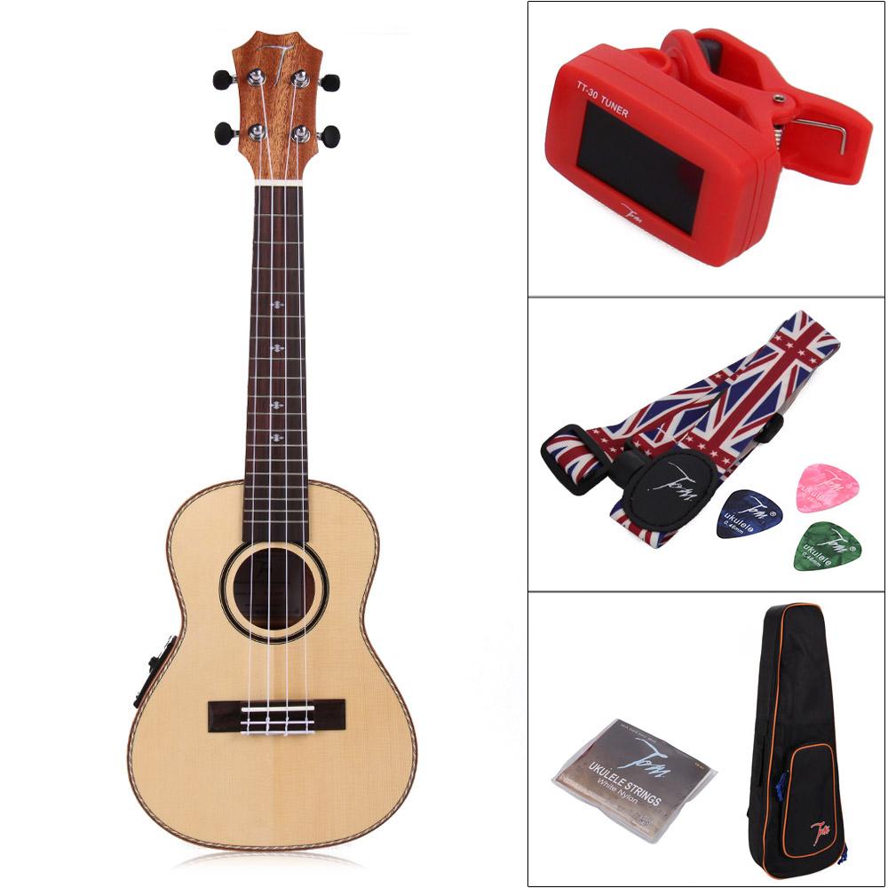 23/24inch Electro Acoustic Concert EQ uku ukelele Hawaii Four string guitar Bag