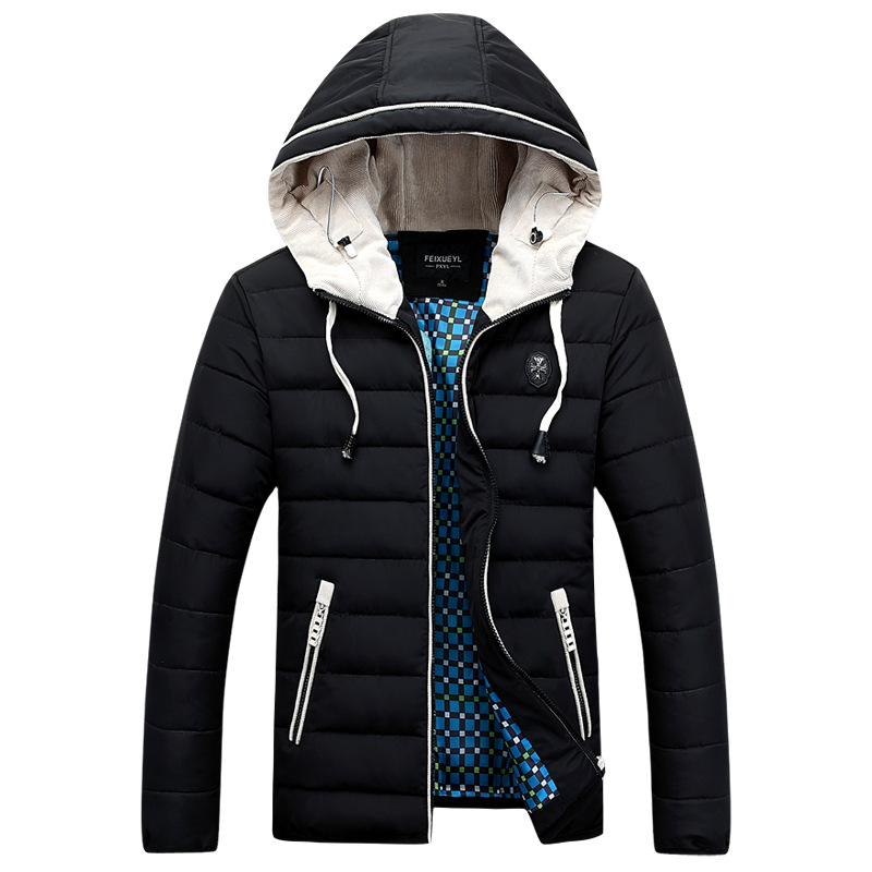 Brand New 2015 Fashion Slim Fit Feather Thick Cotton Padded Jacket Men Warm Parkas Plus Size