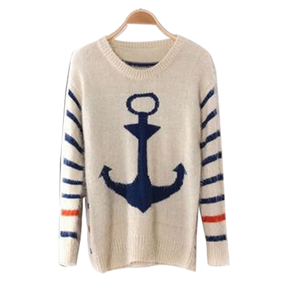 Autumn Women Anchor Pattern Warm Mohair Sweaters Brand Winter Korean Style Loose Jumper O-Neck Navy Knitted Female Sweaters B149(China (Mainland))