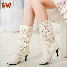 2016 New Fashion women's high heel cut-outs Boots shoes women spring summer Boots for woman,women's high heels big size 35-43(China (Mainland))