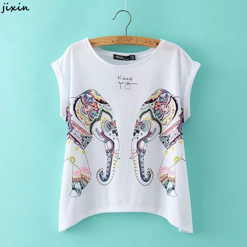 2016 summer women t shirt top harajuku elephant print for Elephant t shirt women s