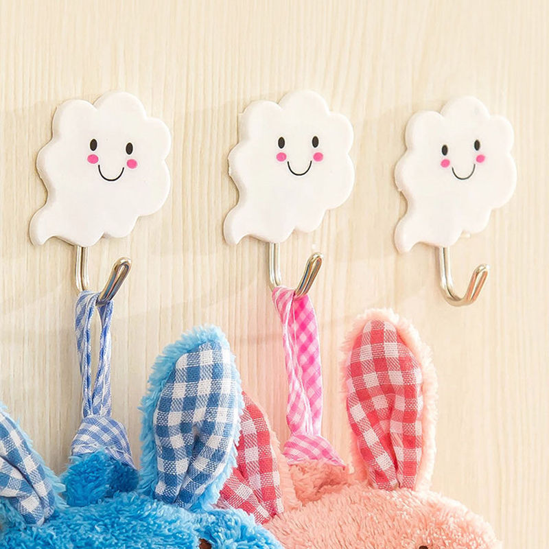 Free Shipping new high quality 3pcs/set cute white cloud wall door hangers for clothes hats bag key adhesive plastic hook(China (Mainland))