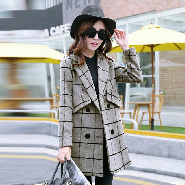 Горячая 2015 новинка зимняя куртка женщин ретро двубортный кашемировые пальто и длинные ...