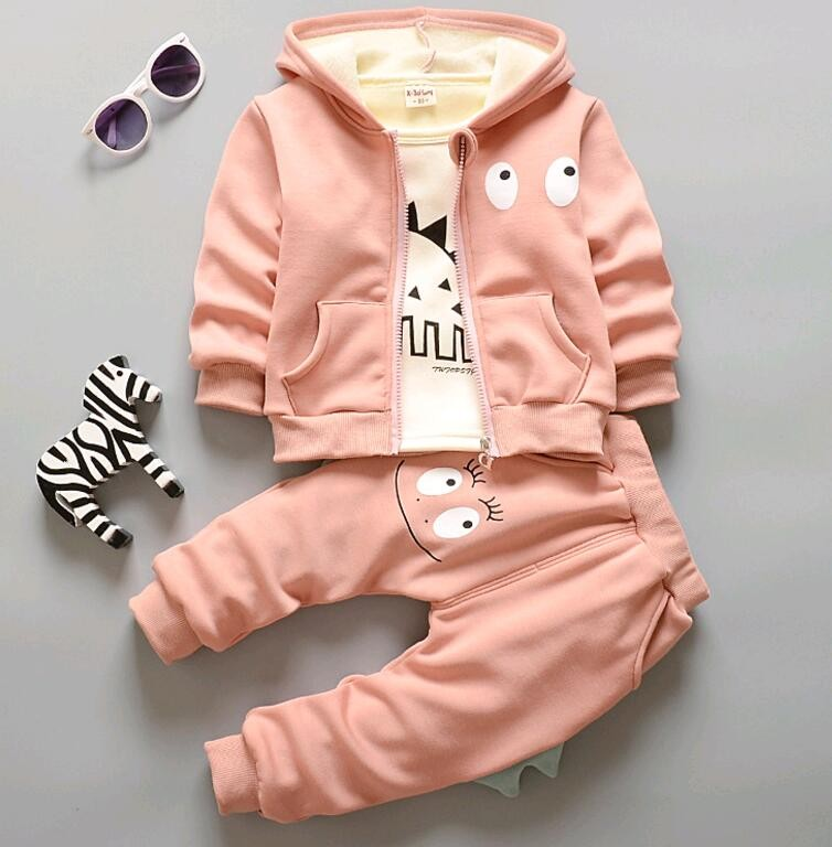 Скидки на 2016 зима детская трех частей костюмы хлопок добавить бархат Корейский мальчиков и девочек комплектов одежды жилет с капюшоном + брюки