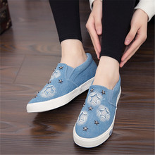 Women Canvas Shoes Denim Summer Casual Shoes Lace Up Flat Shoes Women Zapatos Mujer Spring 2016