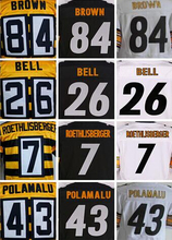 Best quality jersey,Men's 7 Ben Roethlisberger 12 Terry Bradshaw 43 Troy Polamalu 50 Ryan Shazier 84 Antonio Brown elite jerseys(China (Mainland))