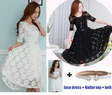 Платье кружево свободного покроя половина, женщины с сарафаны ремень рукав вечернее элегантный vestidos весна 98333