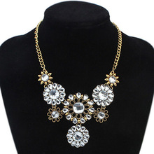2015 Summer Jewelry Hot Necklaces Pendants Women Statement Necklace Colar Choker Necklace Crystal Sunflower Pendant For