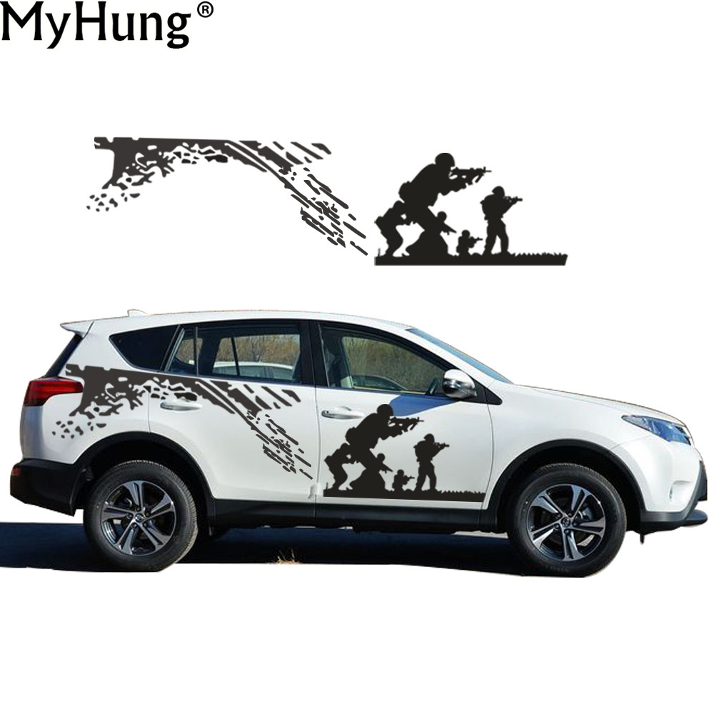 Car full body sticker design - New Car Styling For Toyota Rav4suv Cool Cs Army Battle Car Whole Body Sticker Covers Garland