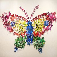 12pcs Hotsale Fashion 3D stereo art butterfly wall stickers living room decal DIY wall stickers  wall decoration 96268-96276